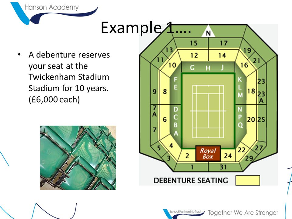 Example 1…. A debenture reserves your seat at the Twickenham Stadium Stadium for 10 years. (£6,000 each)