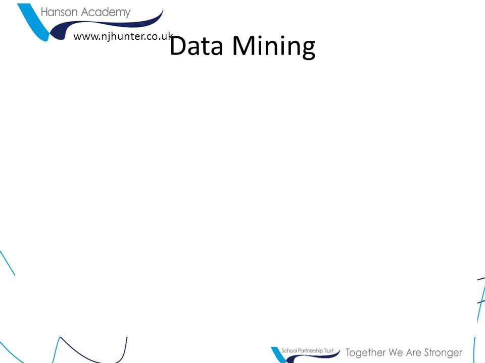 www.njhunter.co.uk Task 3 - Analysis Tally the results as a whole – and record the data (you may do this by hand) Using a data mining technique – lets uncover what females think about promotion.