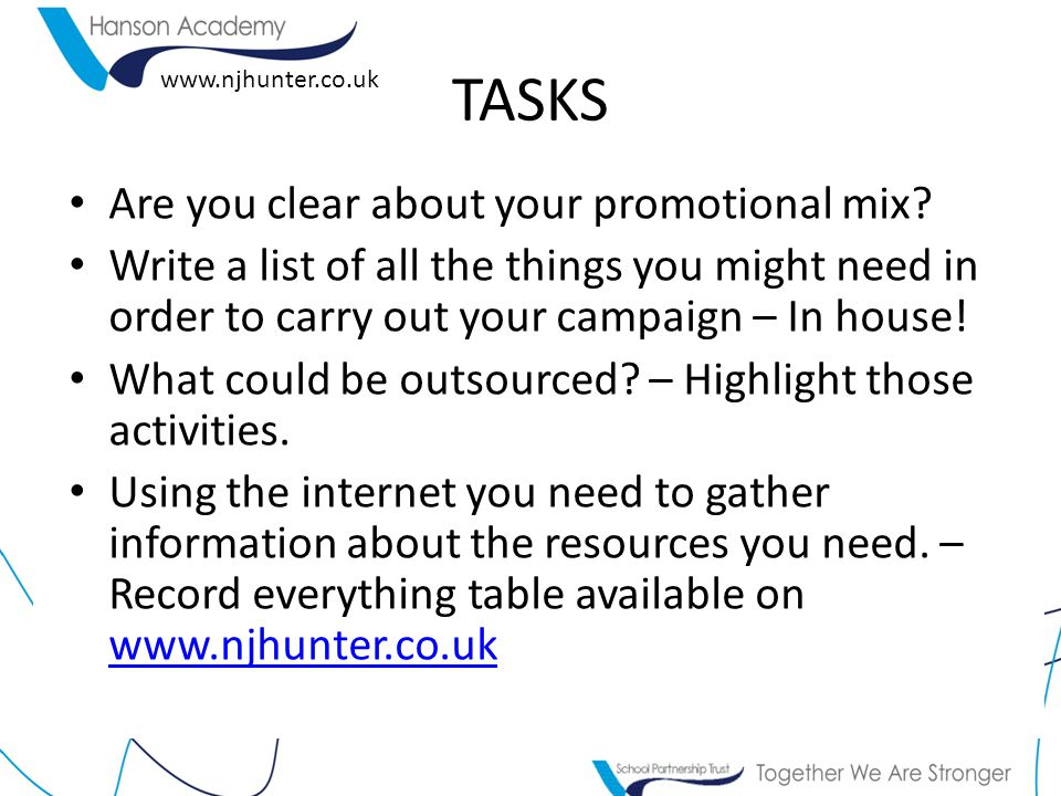 www.njhunter.co.uk TASKS Are you clear about your promotional mix.