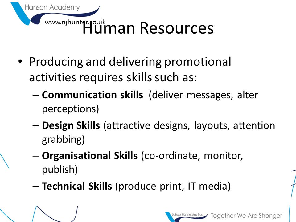 www.njhunter.co.uk Human Resources Producing and delivering promotional activities requires skills such as: – Communication skills (deliver messages, alter perceptions) – Design Skills (attractive designs, layouts, attention grabbing) – Organisational Skills (co-ordinate, monitor, publish) – Technical Skills (produce print, IT media)