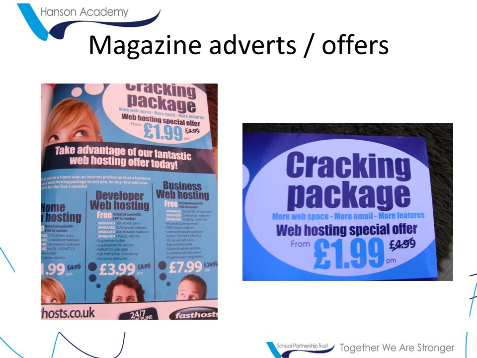 Magazine adverts / offers