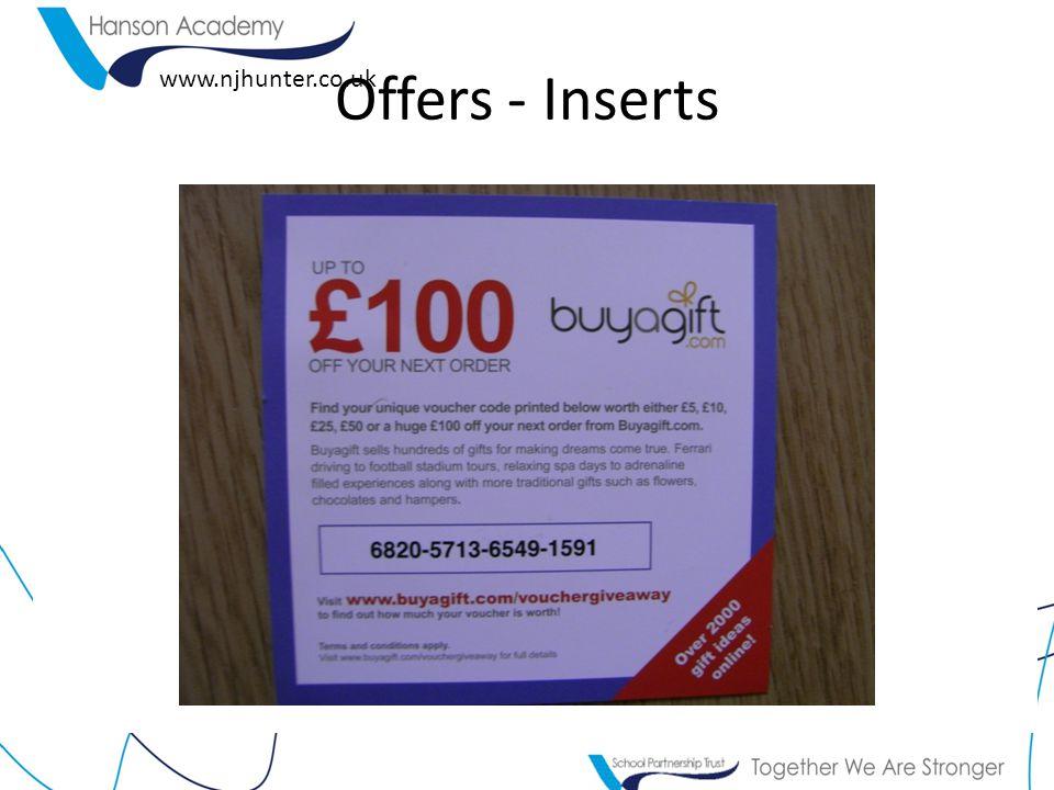 www.njhunter.co.uk Offers - Inserts