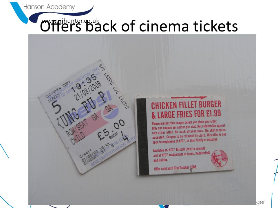 Offers back of cinema tickets