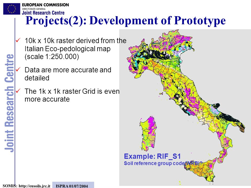13 SOMIS:   ISPRA 01/07/2004 Projects(2): Development of Prototype 10k x 10k raster derived from the Italian Eco-pedological map (scale 1: ) Data are more accurate and detailed The 1k x 1k raster Grid is even more accurate Example: RIF_S1 Soil reference group code(WRB)