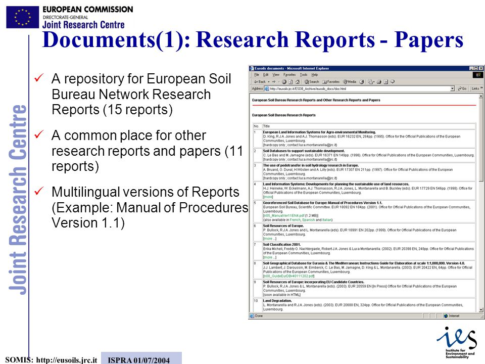 5 SOMIS:   ISPRA 01/07/2004 A repository for European Soil Bureau Network Research Reports (15 reports) A common place for other research reports and papers (11 reports) Multilingual versions of Reports (Example: Manual of Procedures Version 1.1) Documents(1): Research Reports - Papers