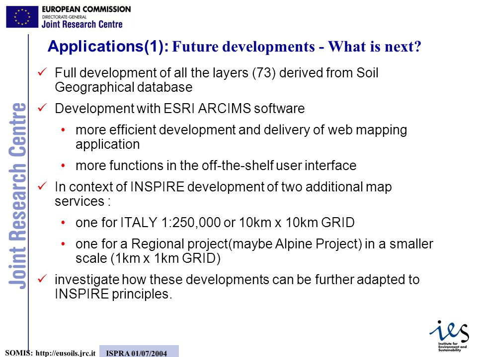 8 SOMIS:   ISPRA 01/07/2004 Applications(1): Future developments - What is next.
