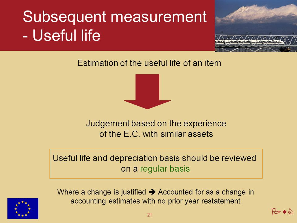 21 PwC Subsequent measurement - Useful life Estimation of the useful life of an item Judgement based on the experience of the E.C. with similar assets