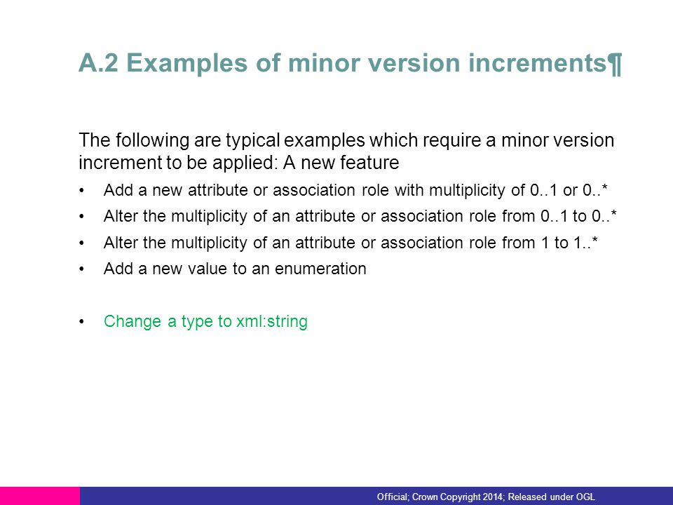 A.2 Examples of minor version increments¶ The following are typical examples which require a minor version increment to be applied: A new feature Add