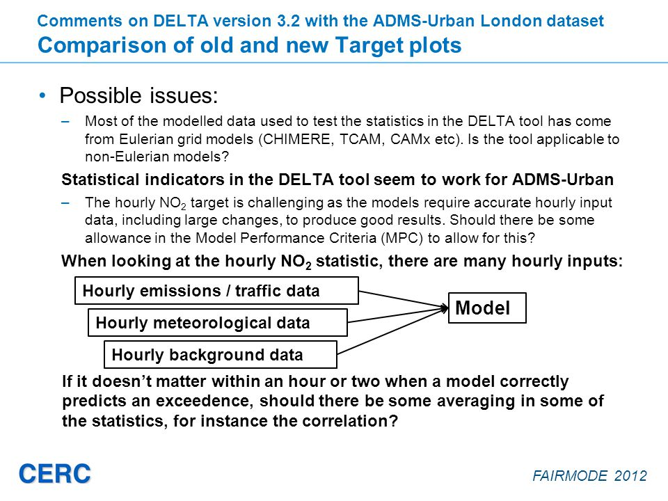 FAIRMODE 2012 Possible issues: –Most of the modelled data used to test the statistics in the DELTA tool has come from Eulerian grid models (CHIMERE, TCAM, CAMx etc).