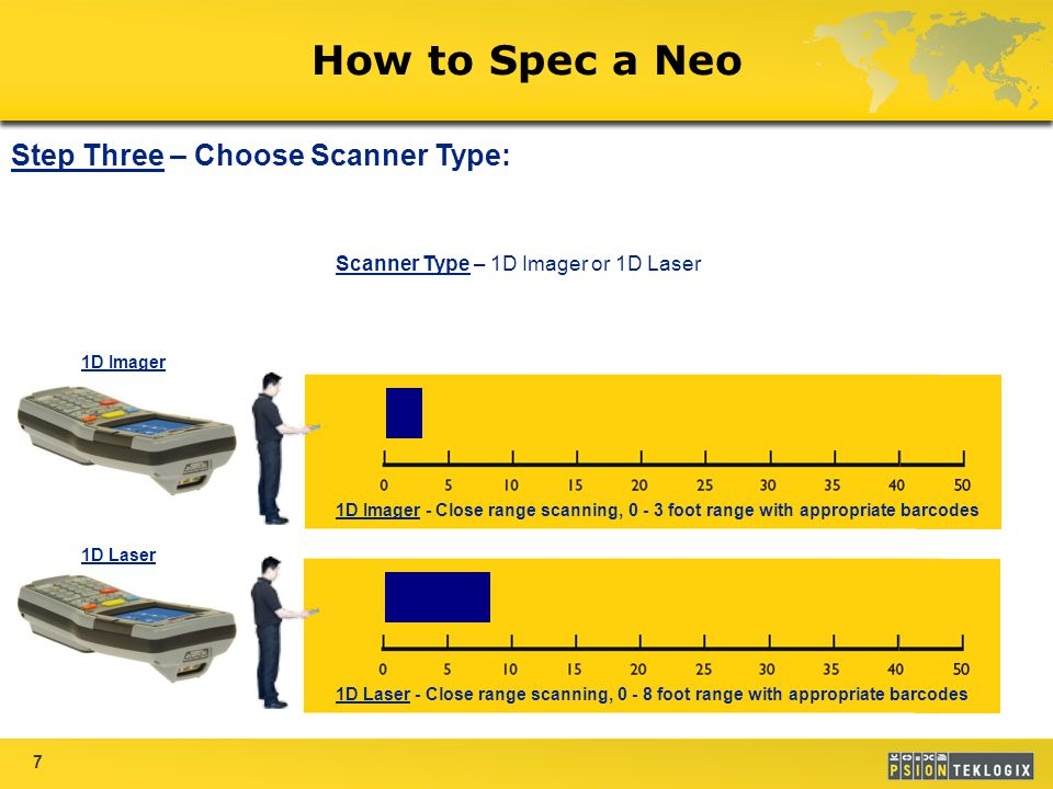 7 How to Spec a Neo Scanner Type – 1D Imager or 1D Laser Step Three – Choose Scanner Type: 1D Imager - Close range scanning, 0 - 3 foot range with appropriate barcodes 1D Laser - Close range scanning, 0 - 8 foot range with appropriate barcodes 1D Imager 1D Laser