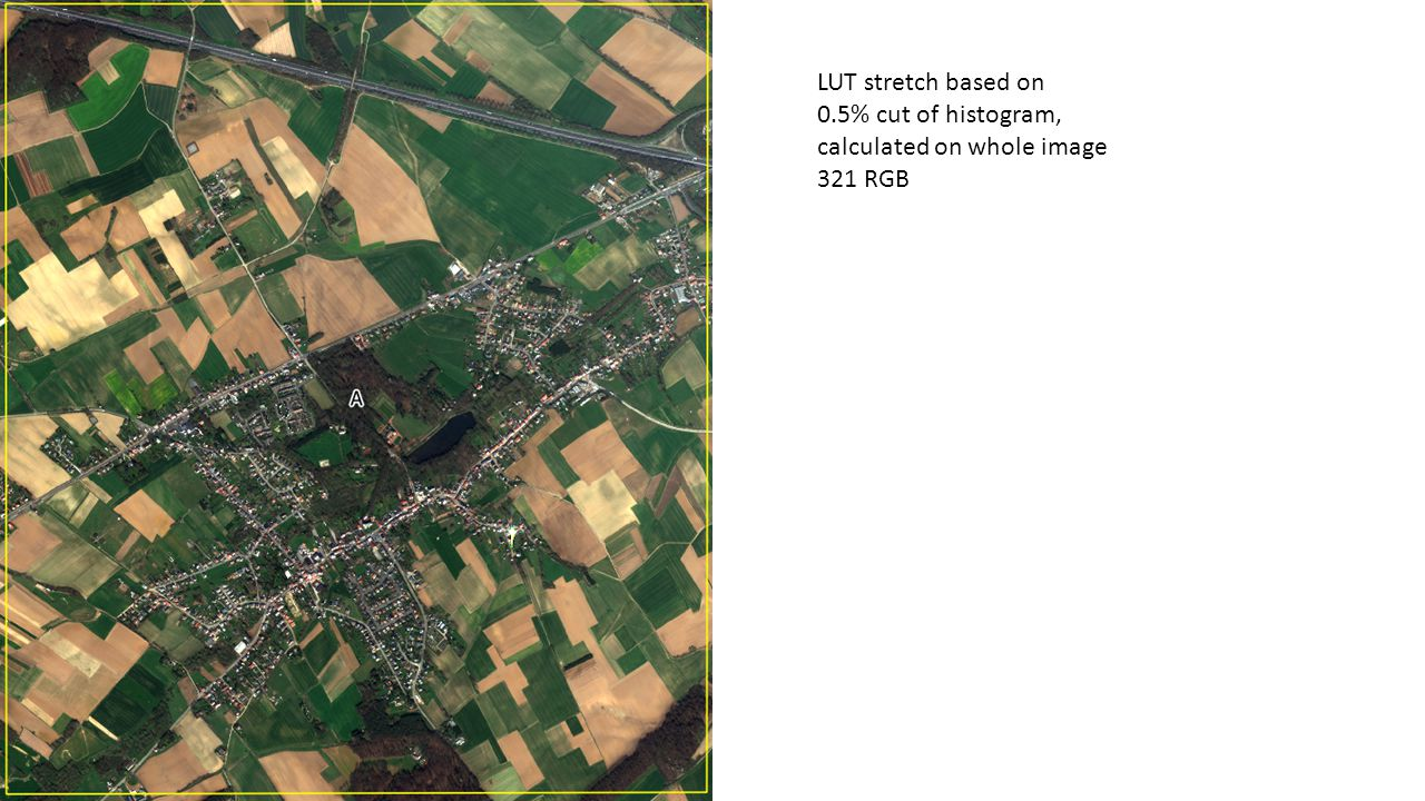 LUT stretch based on 0.5% cut of histogram calculated on whole image PAN
