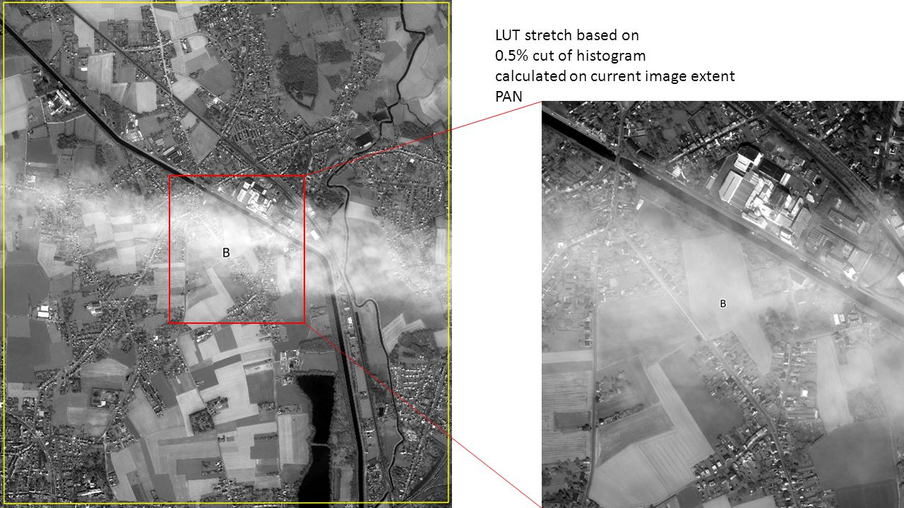 LUT stretch based on 0.5% cut of histogram calculated on current image extent PAN