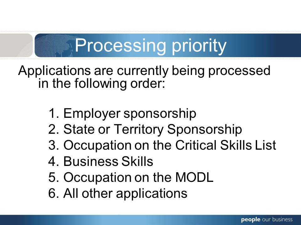 Processing priority Applications are currently being processed in the following order: 1.Employer sponsorship 2.State or Territory Sponsorship 3.Occupation on the Critical Skills List 4.Business Skills 5.Occupation on the MODL 6.All other applications