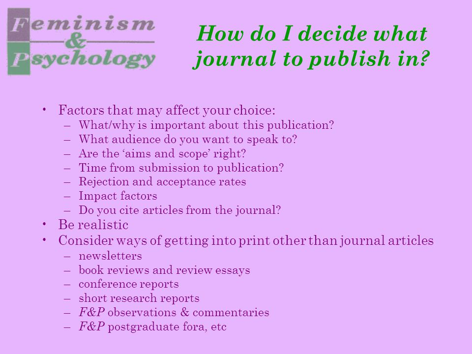 How do I decide what journal to publish in.