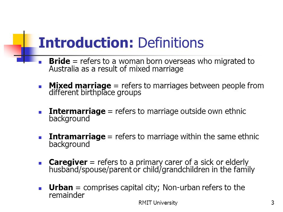 RMIT University3 Introduction: Definitions Bride = refers to a woman born overseas who migrated to Australia as a result of mixed marriage Mixed marri