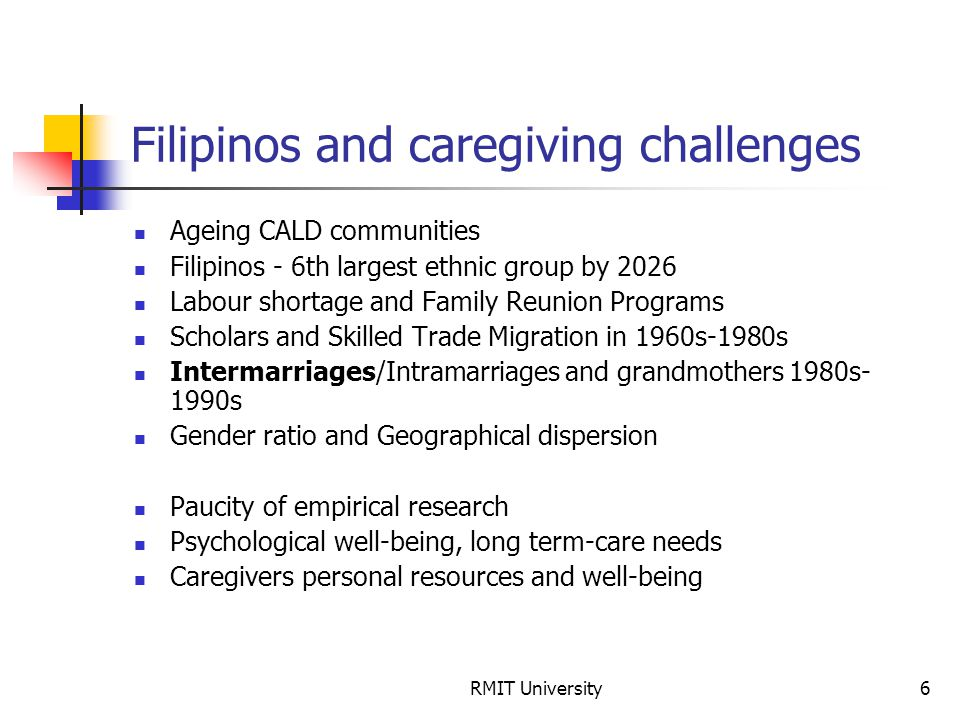 RMIT University6 Filipinos and caregiving challenges Ageing CALD communities Filipinos - 6th largest ethnic group by 2026 Labour shortage and Family R