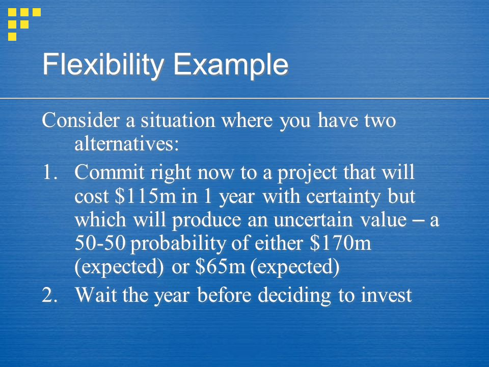Flexibility Example Consider a situation where you have two alternatives: 1.Commit right now to a project that will cost $115m in 1 year with certaint