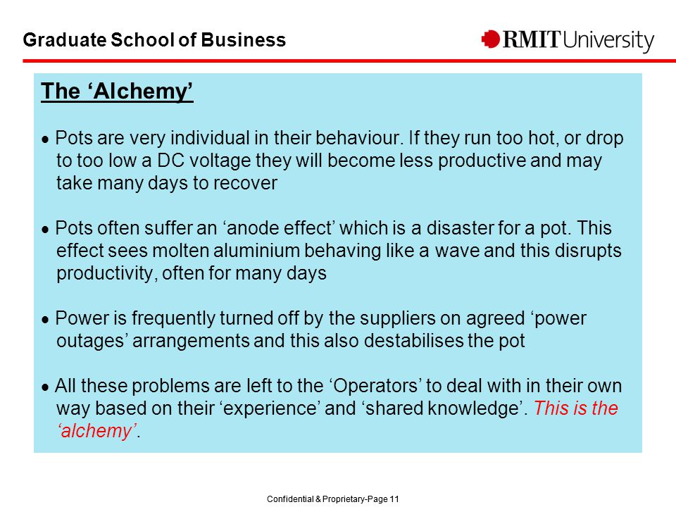 Confidential & Proprietary-Page 11 Graduate School of Business The 'Alchemy'  Pots are very individual in their behaviour.