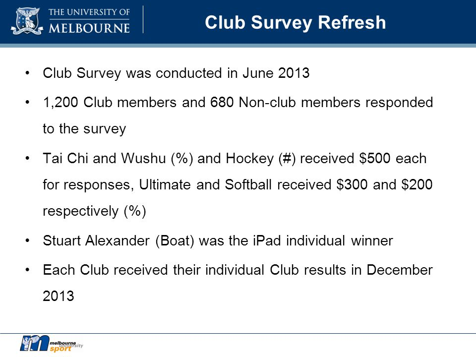 Club Survey Refresh Club Survey was conducted in June 2013 1,200 Club members and 680 Non-club members responded to the survey Tai Chi and Wushu (%) and Hockey (#) received $500 each for responses, Ultimate and Softball received $300 and $200 respectively (%) Stuart Alexander (Boat) was the iPad individual winner Each Club received their individual Club results in December 2013