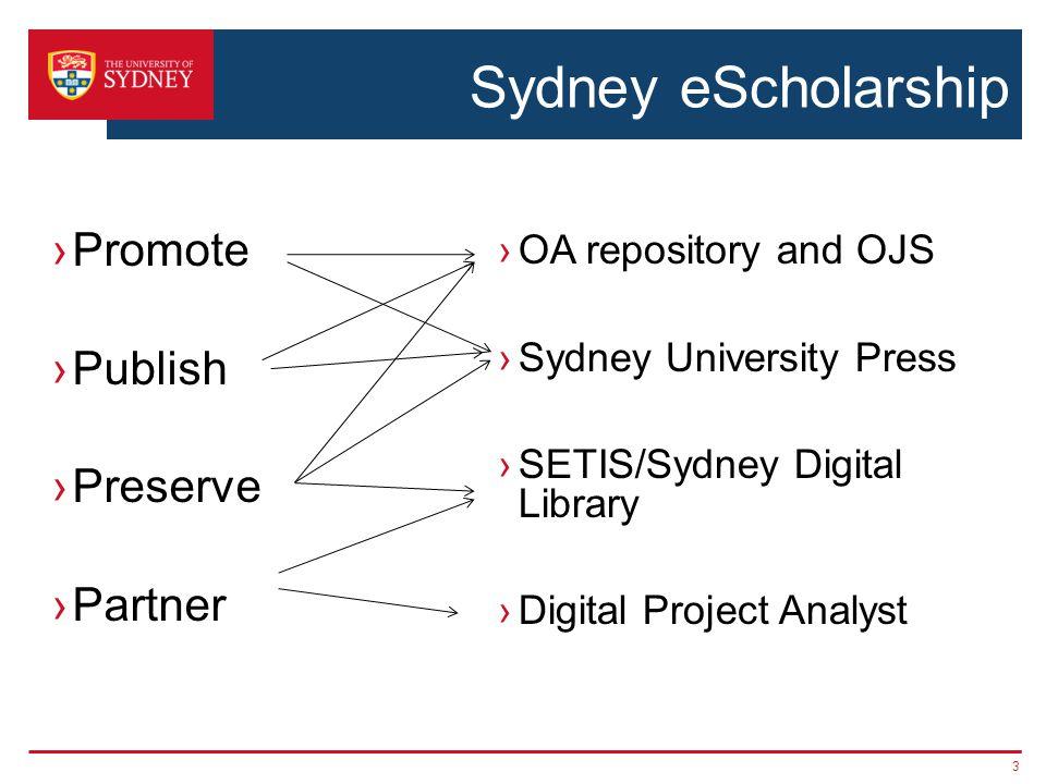 Sydney eScholarship ›Promote ›Publish ›Preserve ›Partner ›OA repository and OJS ›Sydney University Press ›SETIS/Sydney Digital Library ›Digital Project Analyst 3