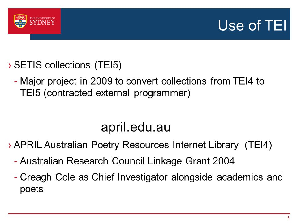 APRIL ›Project to create a web-accessible database of Australian poetry ›Currently 160 poets and 42,000 poems ›Rights negotiated by Copyright Agency Ltd (CAL) – Australia s collecting society 6