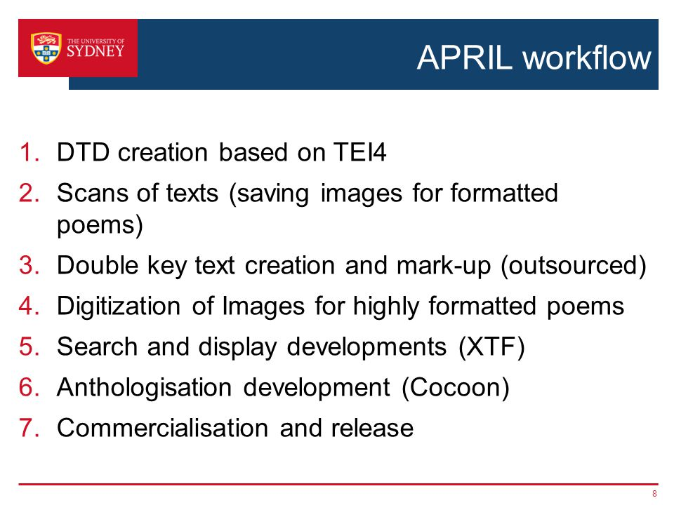 APRIL workflow 1.DTD creation based on TEI4 2.Scans of texts (saving images for formatted poems) 3.Double key text creation and mark-up (outsourced) 4.Digitization of Images for highly formatted poems 5.Search and display developments (XTF) 6.Anthologisation development (Cocoon) 7.Commercialisation and release 8