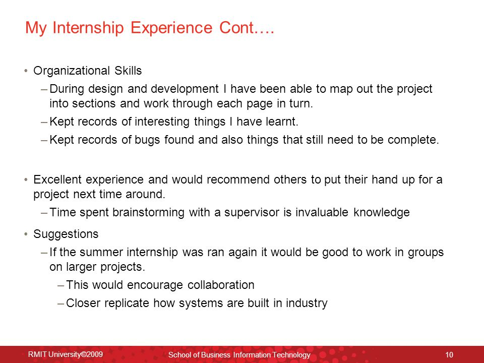 My Internship Experience Cont….