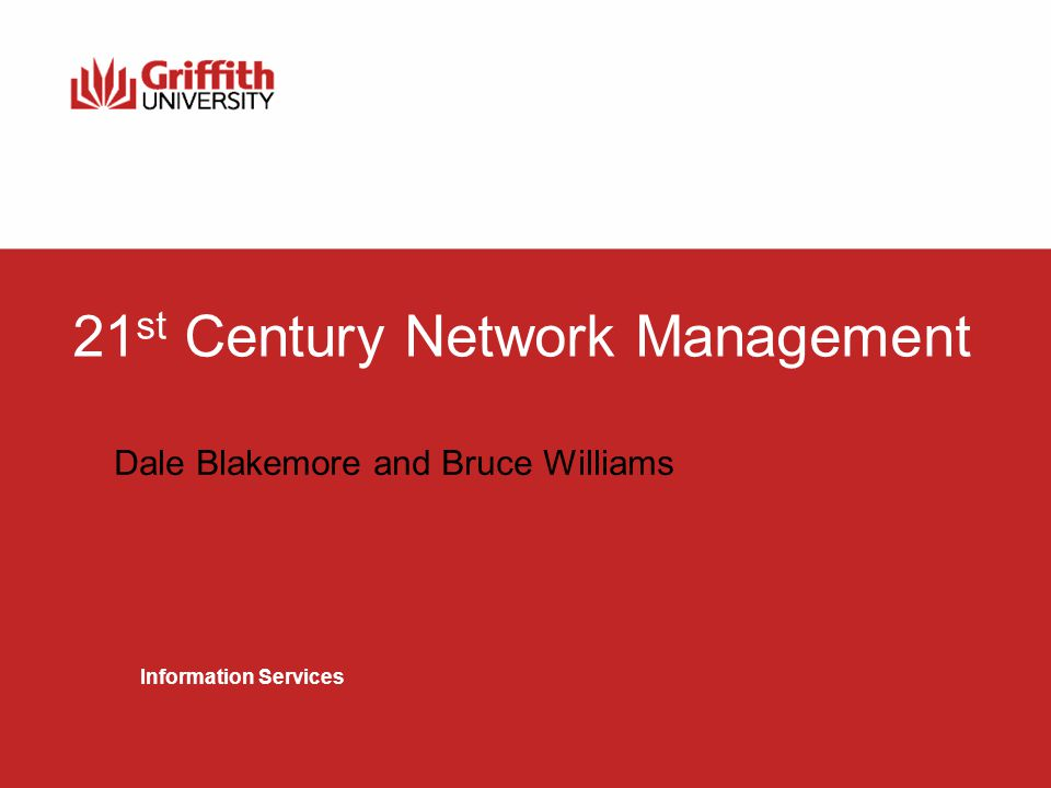 Network Communications Services 2 Agenda Overview of the Griffith University NOC operation Griffith University Port Database (GUPD)‏ Plone and other tools (mrtg with rrdtool, smokeping, layer 2 trace, attack search)‏ Future vision and roadmap Questions