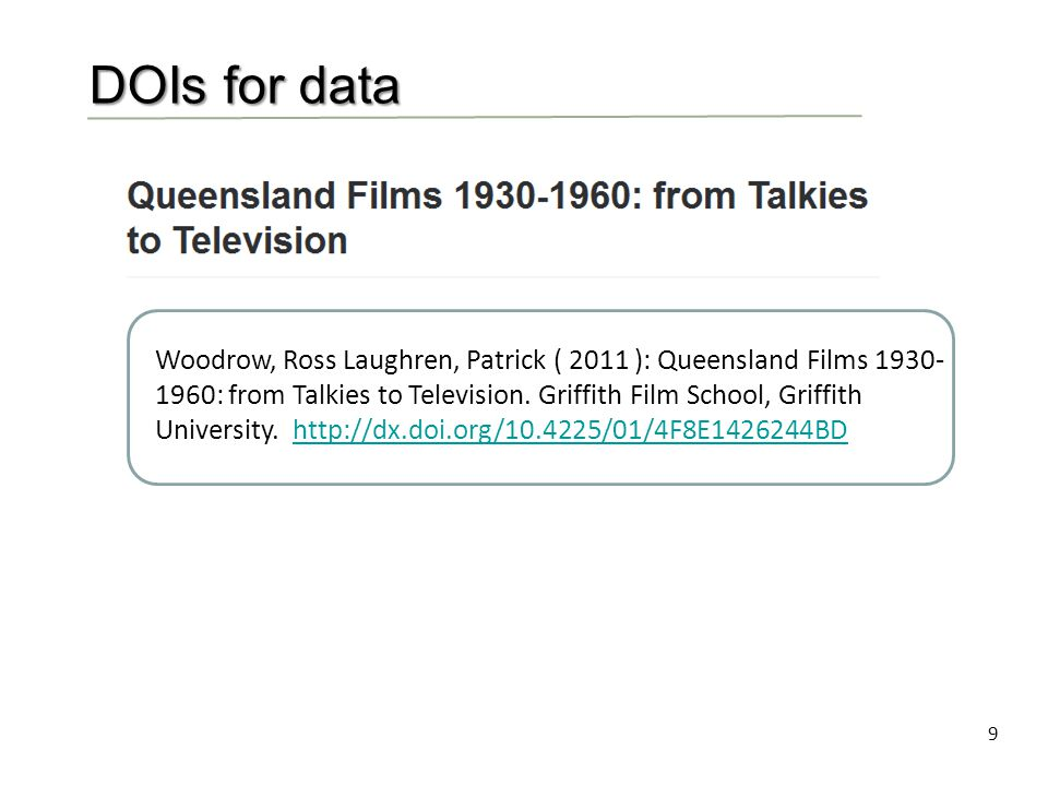 9 DOIs for data Woodrow, Ross Laughren, Patrick ( 2011 ): Queensland Films 1930- 1960: from Talkies to Television.