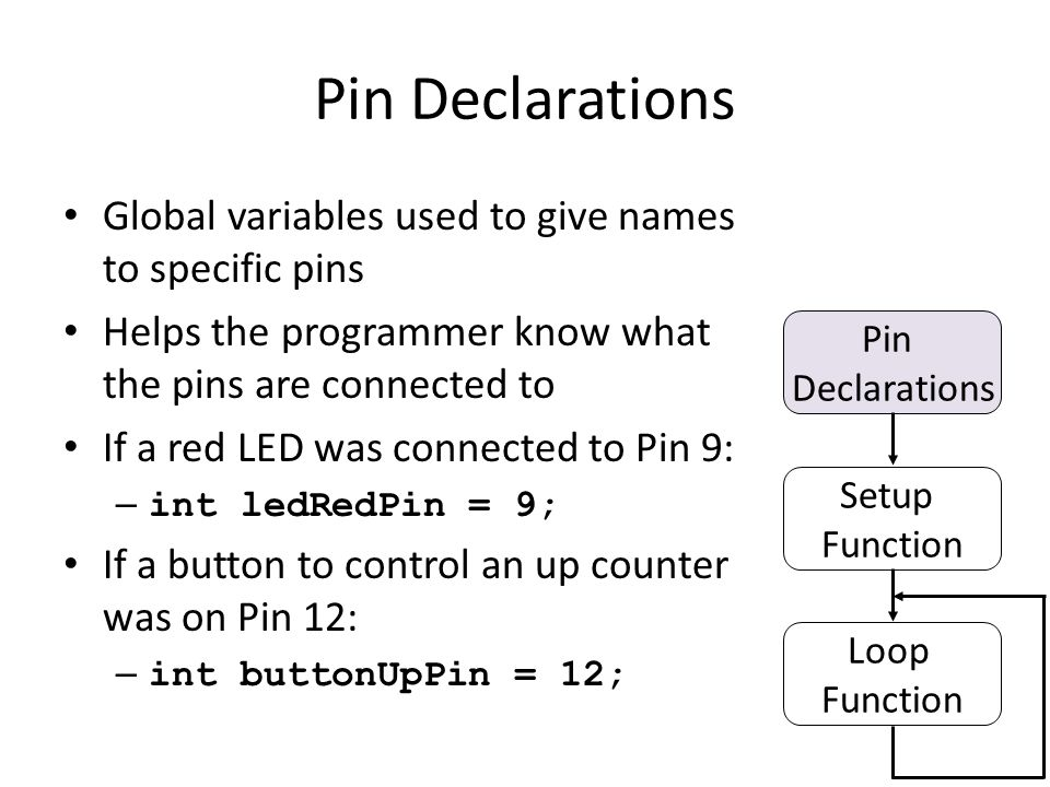 Pin Declarations Global variables used to give names to specific pins Helps the programmer know what the pins are connected to If a red LED was connected to Pin 9: – int ledRedPin = 9; If a button to control an up counter was on Pin 12: – int buttonUpPin = 12; Pin Declarations Setup Function Loop Function