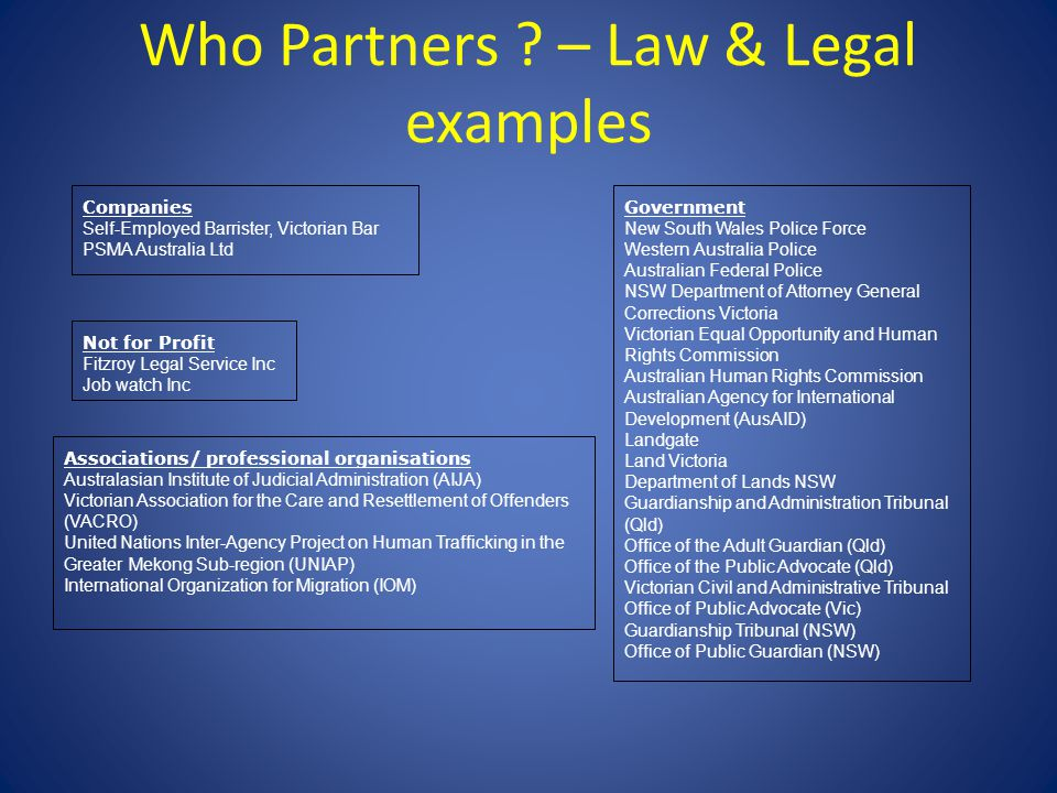 Who Partners ? – Law & Legal examples Companies Self-Employed Barrister, Victorian Bar PSMA Australia Ltd Government New South Wales Police Force West