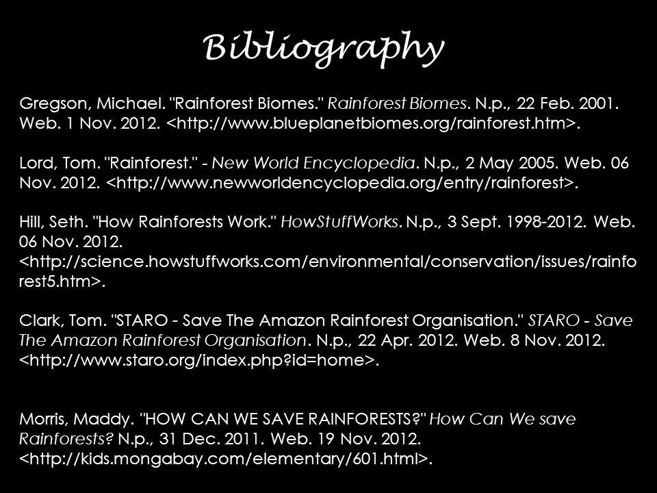 Gregson, Michael. Rainforest Biomes. Rainforest Biomes.
