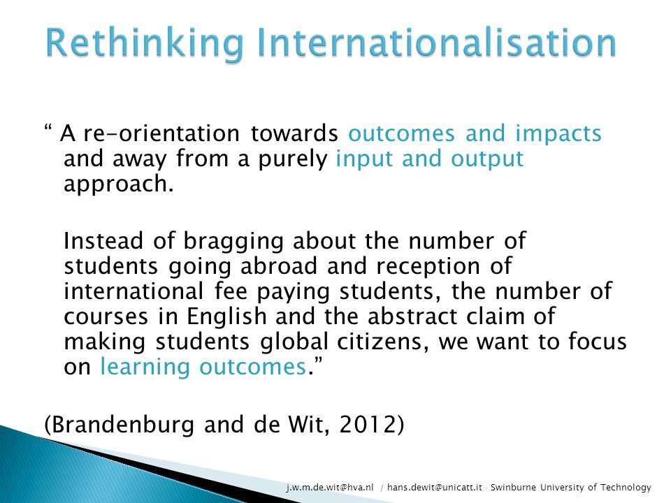 A re-orientation towards outcomes and impacts and away from a purely input and output approach.