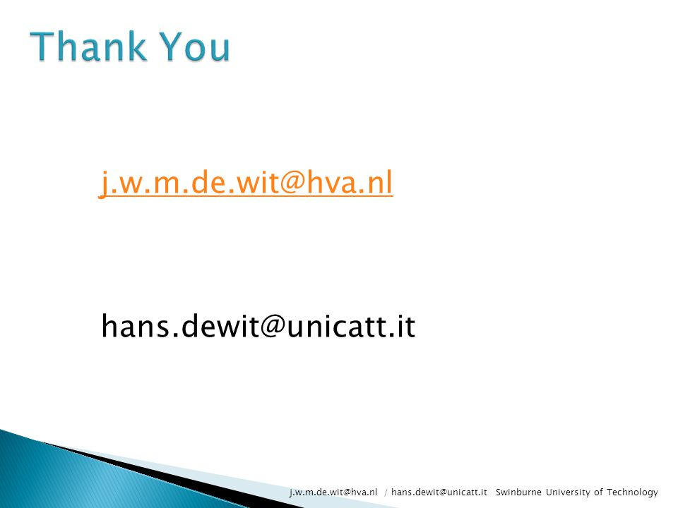 j.w.m.de.wit@hva.nl hans.dewit@unicatt.it