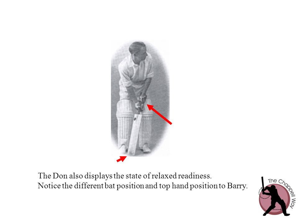 The Don also displays the state of relaxed readiness. Notice the different bat position and top hand position to Barry.