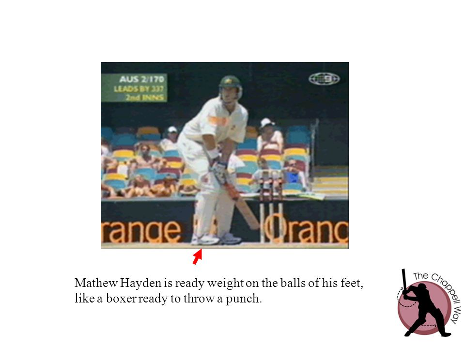 Mathew Hayden is ready weight on the balls of his feet, like a boxer ready to throw a punch.