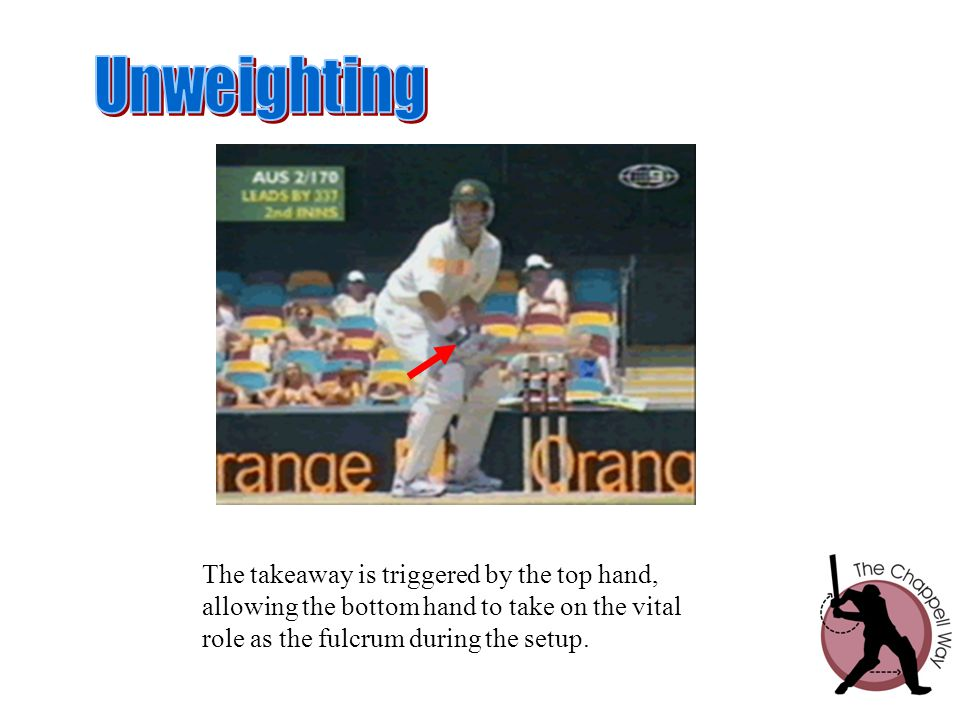 The takeaway is triggered by the top hand, allowing the bottom hand to take on the vital role as the fulcrum during the setup.