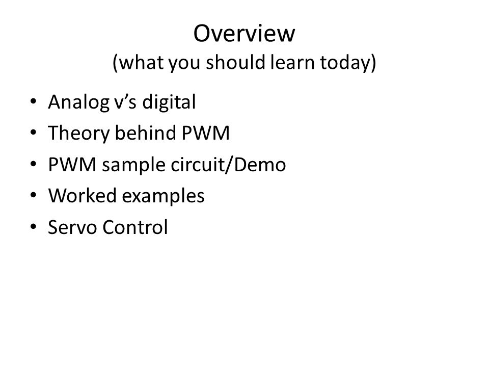 Continuous Rotation Servos By default servo motors only have about 180 O of motion that they can travel over Servos can be modified for continuous rotation (they can go right around) PWM signal controls speed not position of continuous rotation servos Involves: – Removing feedback potentiometer (variable resistor) – Soldering in resistors – Cutting notch out of gears