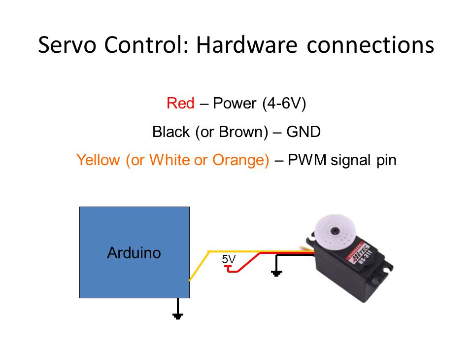 Servo Control: Hardware connections Arduino 5V Red – Power (4-6V) Black (or Brown) – GND Yellow (or White or Orange) – PWM signal pin