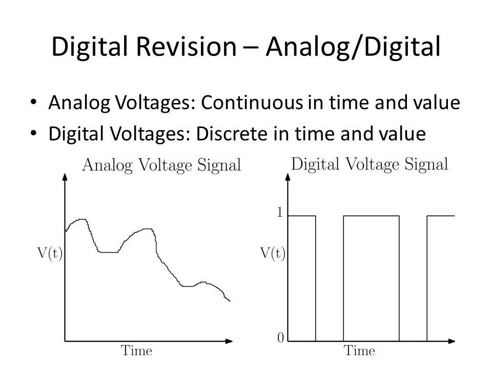 Analog/Digital The real world is analog Most things we measure or control can be described my continuous values – Pressure, temperature, acceleration, sound, light Computers are digital Need to convert these analog voltages as digital values