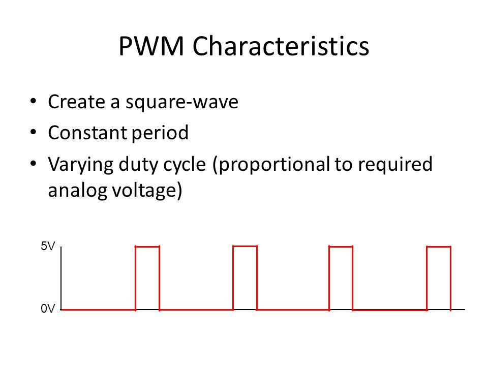 Generating Analog Voltages 5V 0V analogWrite(pin, 0); 0% Duty cycle - Average Voltage: 0V 5V 0V analogWrite(pin, 255); 100% Duty cycle - Average Voltage: 5V 5V 0V analogWrite(pin, 63); 25% Duty cycle - Average Voltage: 1.25V 5V 0V analogWrite(pin, 127); 5 0% Duty cycle - Average Voltage: 2.5V 5V 0V analogWrite(pin, 191); 75% Duty cycle - Average Voltage: 3.75V