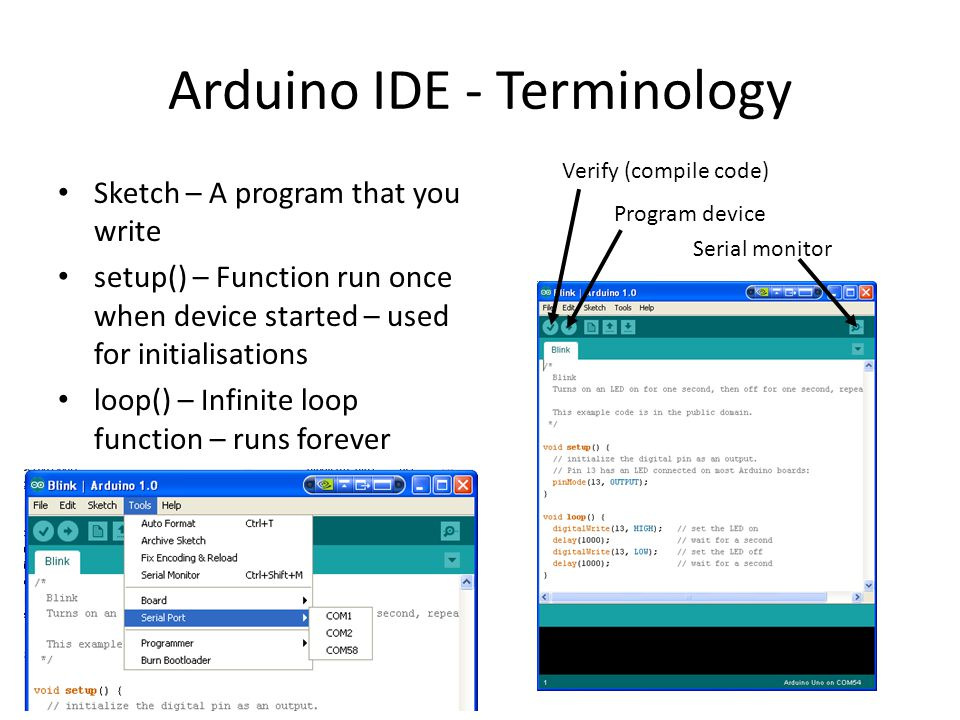 Arduino IDE - Terminology Sketch – A program that you write setup() – Function run once when device started – used for initialisations loop() – Infinite loop function – runs forever Serial monitor Program device Verify (compile code)