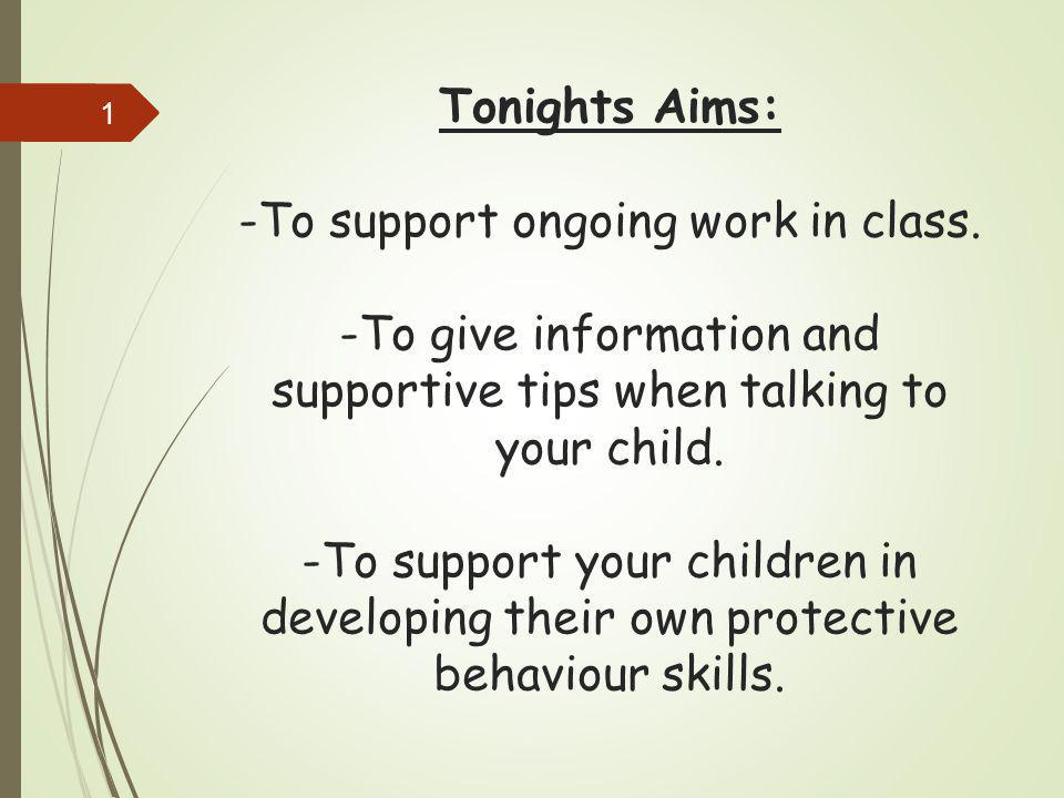Tonights Aims: -To support ongoing work in class. -To give information and supportive tips when talking to your child. -To support your children in de