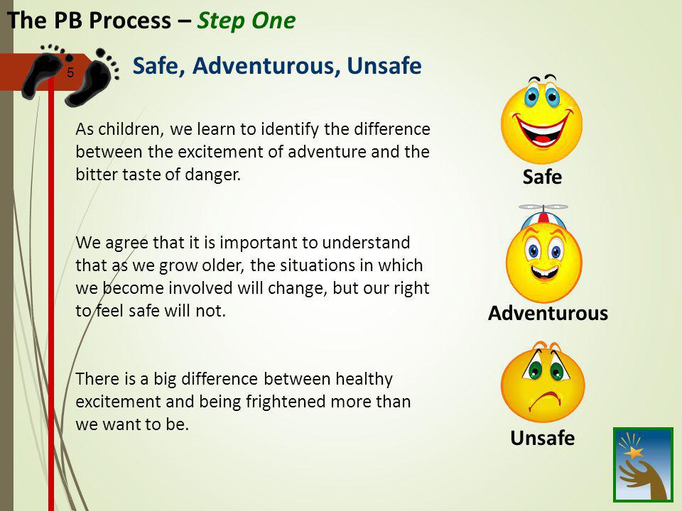 5 The PB Process – Step One As children, we learn to identify the difference between the excitement of adventure and the bitter taste of danger. We ag