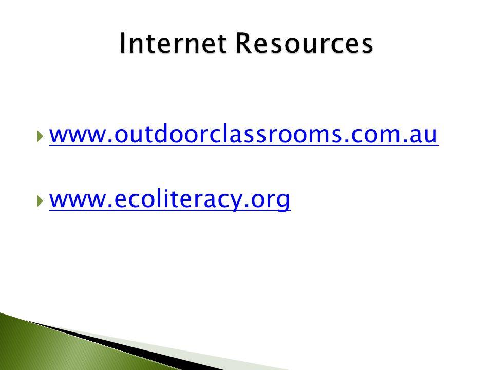  www.outdoorclassrooms.com.au www.outdoorclassrooms.com.au  www.ecoliteracy.org www.ecoliteracy.org