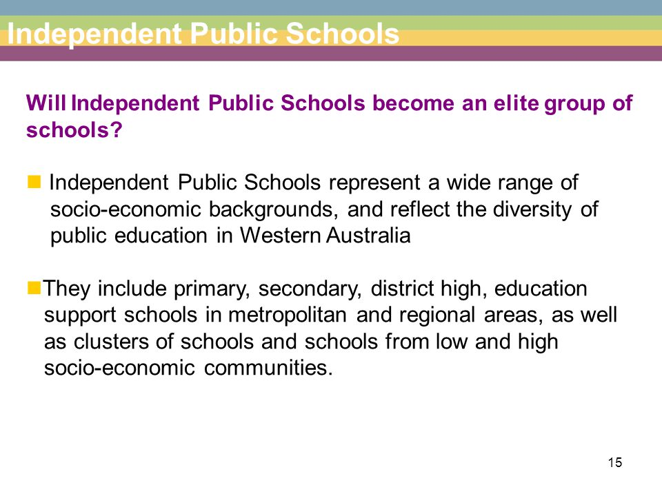 15 Independent Public Schools Will Independent Public Schools become an elite group of schools.