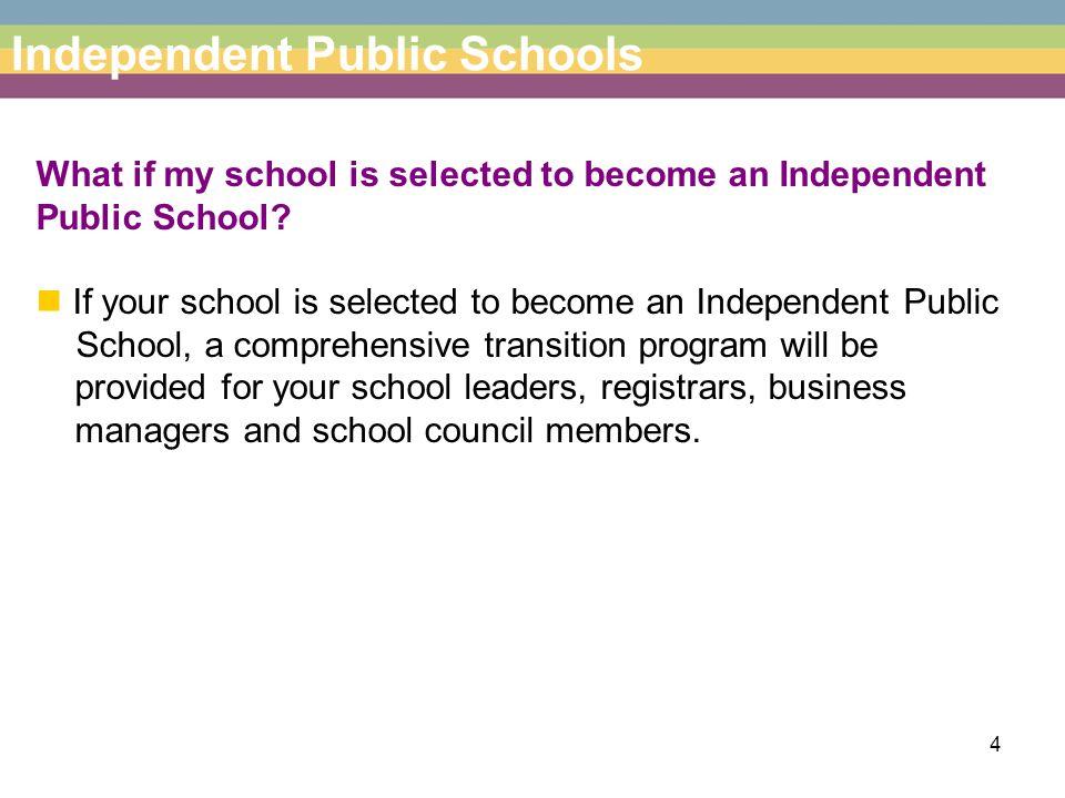 5 Independent Public Schools What happens to schools that choose not to become Independent Public Schools.