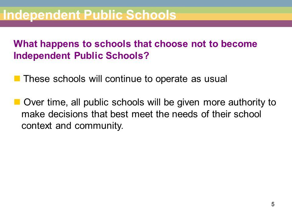 6 Independent Public Schools How will my school change if it becomes an Independent Public School.