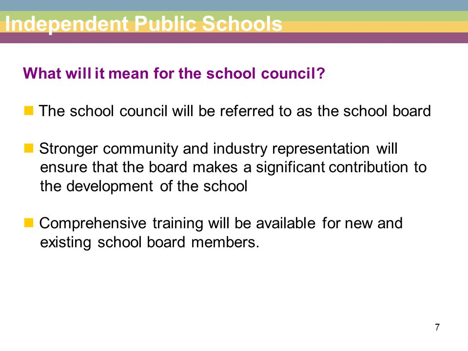 8 Independent Public Schools Can Independent Public Schools select their own staff.