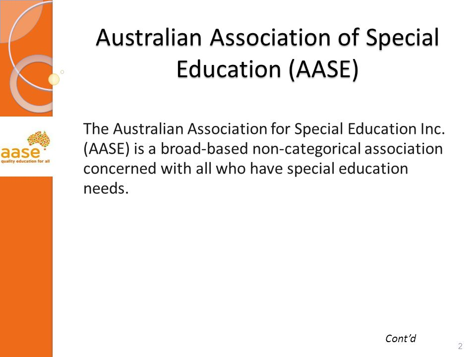Australian Association of Special Education (AASE) The Australian Association for Special Education Inc.